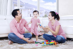 Asian family playing together Royalty Free Stock Images