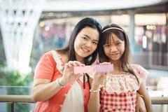 Asian family show mark wood Royalty Free Stock Image