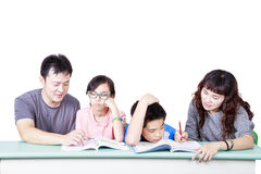 Asian Family study happy together. Happy family study happy together Stock Image
