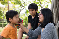 Asian family take care Stock Images