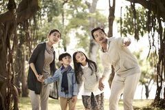 Asian family with two children having fun in park. Asian family with two children having fun exploring woods in a park royalty free stock photo