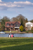 Asian Family - young couple and child relaxing near river Thames Royalty Free Stock Photos