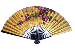 Asian Fan. With floral pattern, isolated Royalty Free Stock Image
