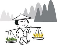 Asian farm worker cartoon Royalty Free Stock Photos