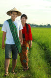 Asian farmer. At paddy field Stock Photo