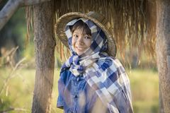Asian farmer girl working at rice field on harvest season. Selective and soft focus Stock Images