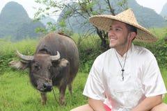 Asian farmer with an ox stock image