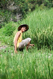 Asian farmer at rice field. Smiling Stock Image