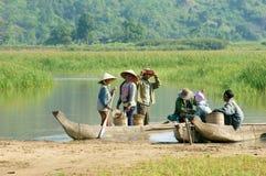Asian farmer, row boat, family, go to work Stock Photography
