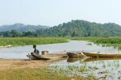 Asian farmer, row boat, family, go to work Royalty Free Stock Photo