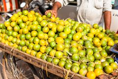 Asian farmer's market selling fresh fruits Royalty Free Stock Images