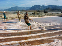 Asian farmer, salt plantation, Vietnamese salina Royalty Free Stock Images