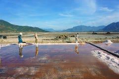Asian farmer, salt plantation, Vietnamese salina Royalty Free Stock Photography