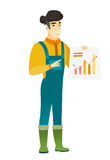 Asian farmer showing financial chart. Asian farmer in coveralls giving presentation and showing financial chart. Full length of young happy farmer pointing at Royalty Free Stock Images