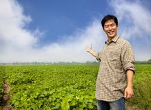 Asian farmer showing his farm Royalty Free Stock Photo