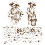 Asian farmers working on Field. stock illustration