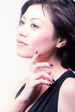 Asian fashion beauty (violet) Royalty Free Stock Photography