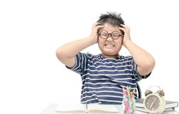 Asian fat boy student stressed by the study isolated stock photo
