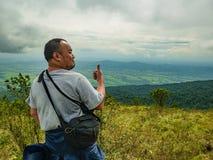 Asian Fat Trekker on Khao Luang mountain in Ramkhamhaeng National Park. Sukhothai province Thailand stock image