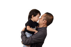 Asian Father Hug His Son Stock Photos