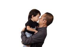 Asian Father Hug His Son Stock Photos
