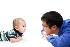 Asian father and son Stock Photos