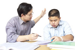 Asian father teaching son Royalty Free Stock Photography