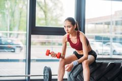 asian female athlete with dumbbell sitting on training tire royalty free stock photos