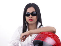 Asian female bike rider. A pretty asian female bike rider of indian origin Royalty Free Stock Images