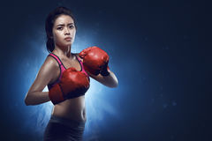 Asian female boxer athlete ready for fight Stock Images