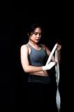 Asian Female Boxer. On black background Royalty Free Stock Image