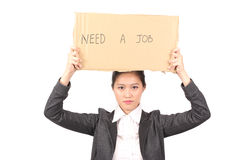 Asian female in business attire looking for job - Series 3 Royalty Free Stock Images