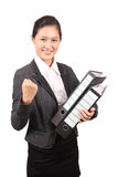 Asian female business executive holding file and showing success Royalty Free Stock Photo