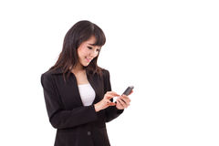 Asian female business woman executive texting, messaging. Using smartphone application with touchscreen technology Royalty Free Stock Images