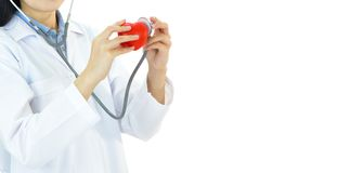 Cardiologist with heart. Asian female cardiologist with heart, heart care concept stock photography