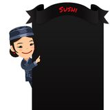 Asian Female Chef Looking at Blank Menu Stock Photography