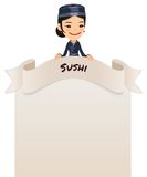 Asian Female Chef Looking at Blank Menu on Top Royalty Free Stock Images