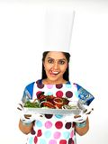 Asian Female Chef With Her Roasted Chicken Stock Image
