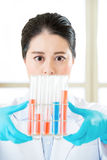 Asian female chemist breaking scientific boundaries with her res Stock Image