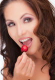Asian Female Closeup with Red Cherry Royalty Free Stock Image