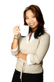 Asian female with coffee Stock Photos