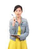 Asian female college student getting an idea Stock Images