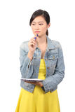 Asian female college student thinking - Series 2 Royalty Free Stock Photography