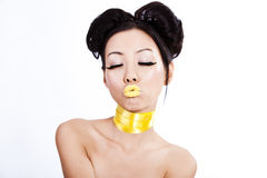 Asian female with creative colorful makeup Royalty Free Stock Photo