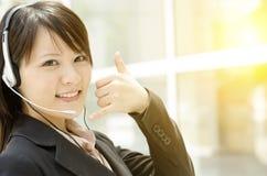Asian female customer support Stock Photo