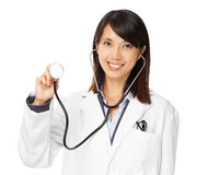 Asian female doctor holding stethoscope Stock Images