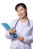 Asian female doctor with stethoscope Stock Photos