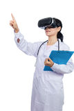 Asian female doctor touching screen by virtual reality goggles. In  white background Stock Photo