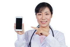 Asian female doctor using mobile phone. In isolated White Background Stock Photo