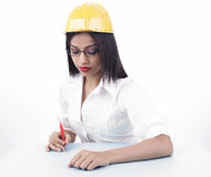 Asian female drafter Royalty Free Stock Photography